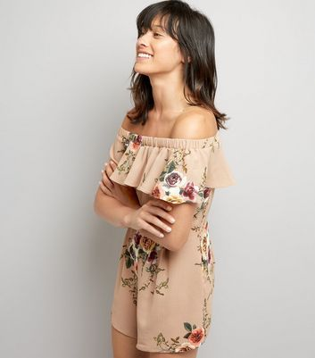 Cameo Rose Stone Floral Print Bardot Neck Playsuit