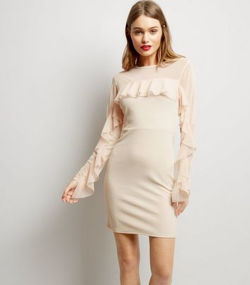 Pink Vanilla Pink Frill Trim Sleeve Bodycon Dress