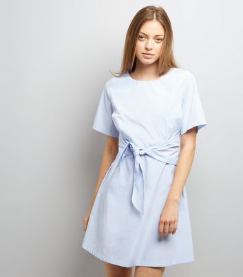 Blue Stripe Tie Waist Tunic Dress