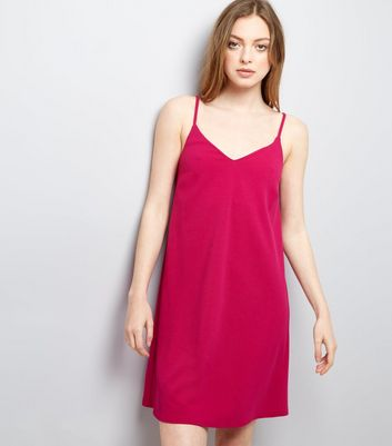 Bright Pink Scuba Mini Slip Dress