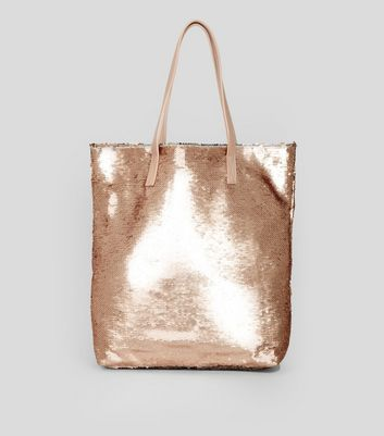 Shopper-Tasche mit Pailletten in Roségold