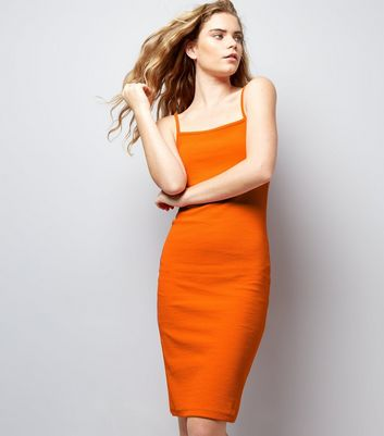 Bright Orange Ribbed Bodycon Midi Dress