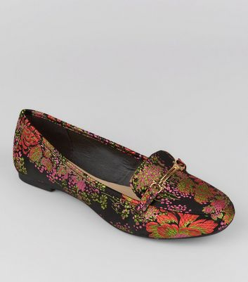 Teenager – Schwarze Loafer mit Blumenmuster in Brokatoptik