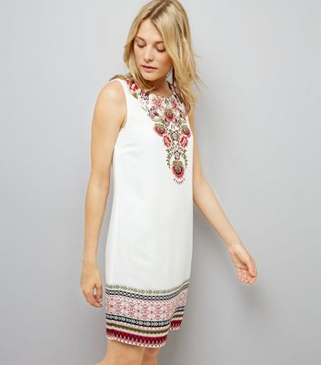 White Floral Border Print Tunic Dress