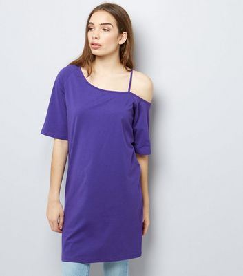 Dark Purple Asymmetric Jersey Tunic