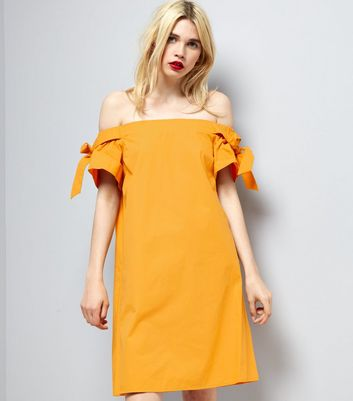 Yellow Bardot Neck Tie Sleeve Dress