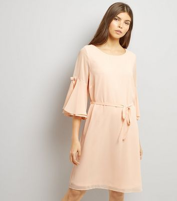 Shell Pink 3/4 Flared Sleeve Tie Waist Tunic Dress