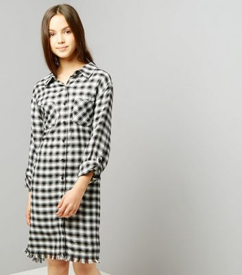 Teens Black Check Fray Hem Shirt Dress