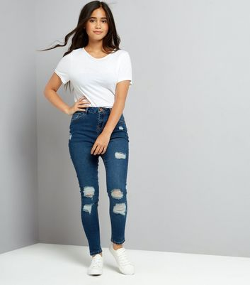 Teens Blue Ripped Skinny Jeans
