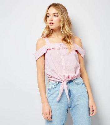 Pink Stripe Seersucker Cold Shoulder Top