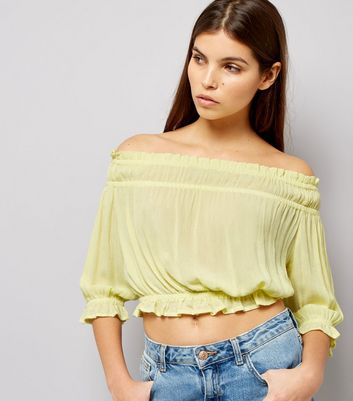 Yellow Shirred Bardot Neck Top