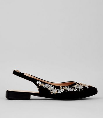 Black Suedette Embellished Sling Back Pointed Pumps