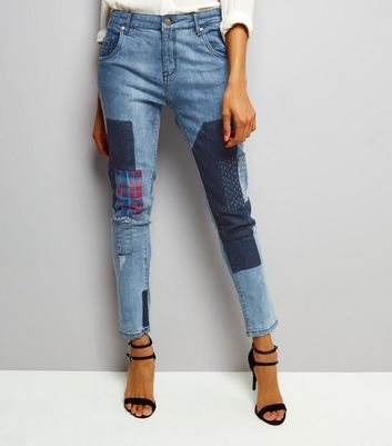 Influence Blue Patch Work Skinny Jeans
