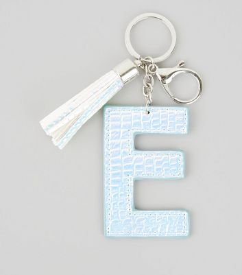 Silver Holographic Snakeskin Texture Initial E Keyring