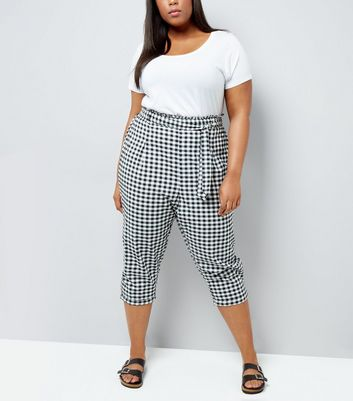 Curves Black Gingham Tie Waist Cropped Trousers