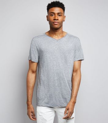 Grey Raw Edge V Neck T-Shirt