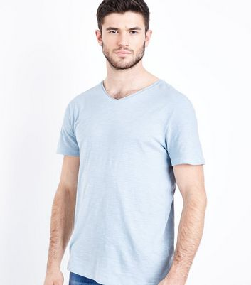 Pale Blue Raw Edge V Neck T-Shirt