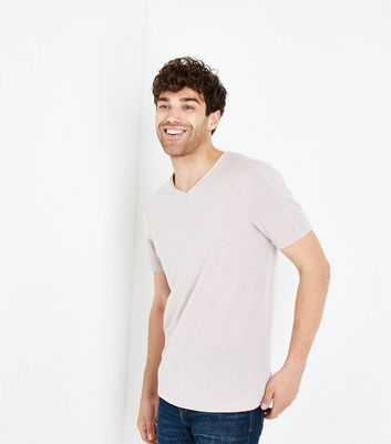 Pink Marl Raw Edge V Neck T-Shirt