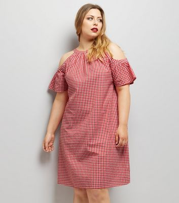 Curves Red Gingham Cold Shoulder Dress