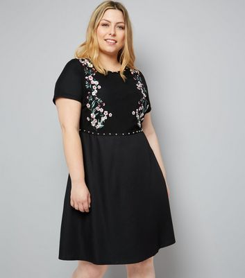 Curves Black Floral Embroidered Studded Mini Dress