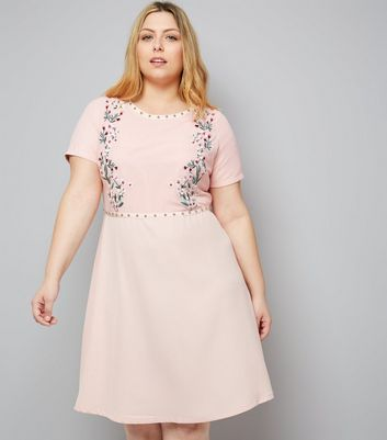 Curves Pink Floral Embroidered Studded Mini Dress