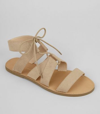 Mink Suedette Lace Up Sandals
