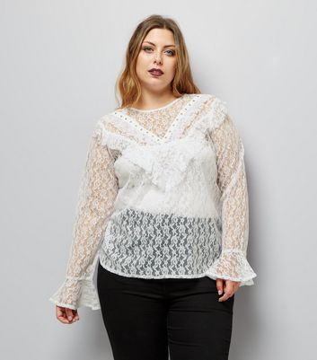 Curves White Lace Studded Frill Trim Top