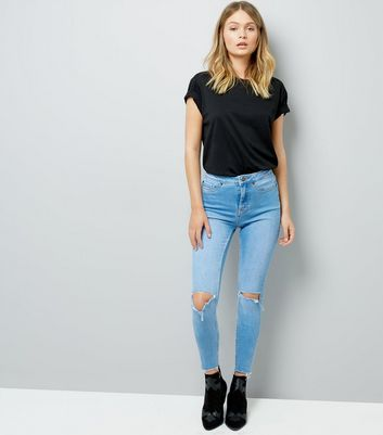 Blue Ripped Knee Skinny Hallie Jeans