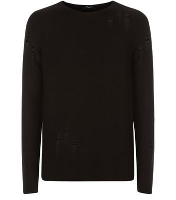 Black Laddered Crew Neck Jumper