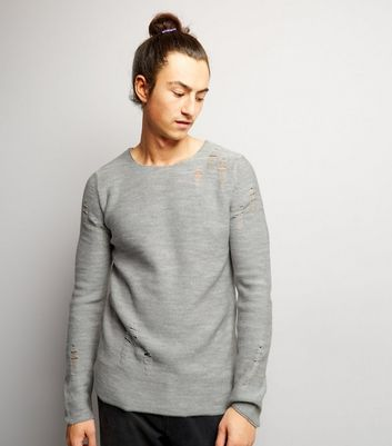 Grey Laddered Crew Neck Jumper