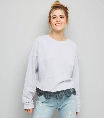 Pale Grey Lace Hem Sweater