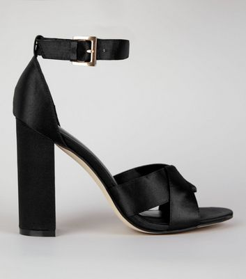 Black Satin Cross Strap Block Heels