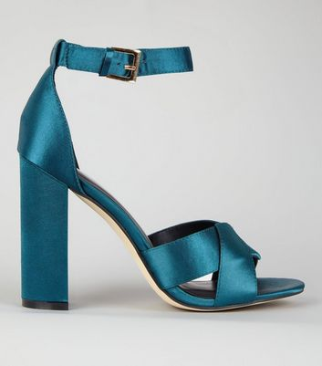 Teal Satin Cross Strap Block Heels