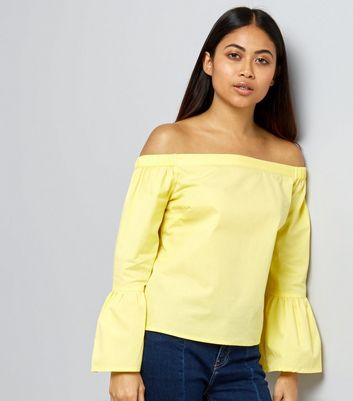 Petite Yellow Bell Sleeve Bardot Neck Top