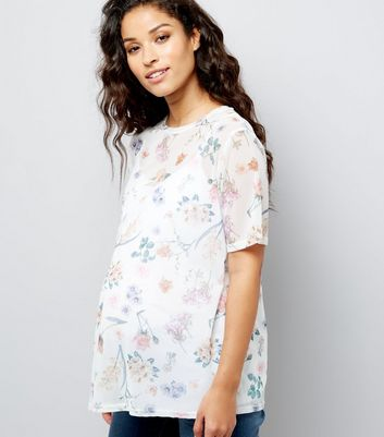 Maternity White Floral Mesh T-Shirt