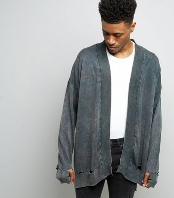 Dark Grey Stonewash Oversized Cardigan