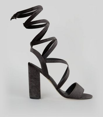 Black Velvet Ankle Tie Heeled Sandals