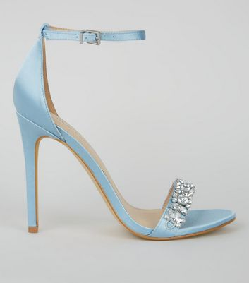 Pale Blue Satin Crystal Embellished Heels