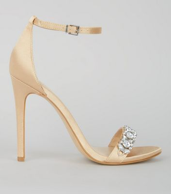 Gold Satin Crystal Embellished Sandals