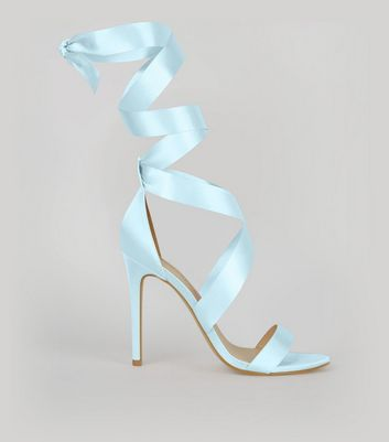 Pale Blue Satin Ribbon Tie Heels