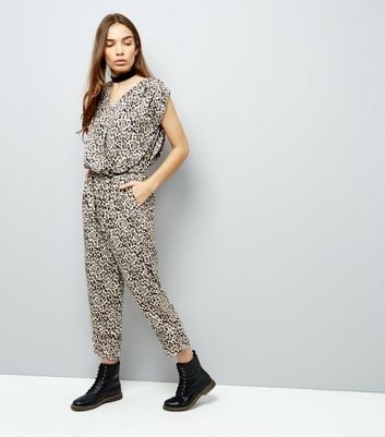 Mela Brown Leopard Print Jumpsuit