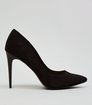 Black Suedette Pointed Court Shoes