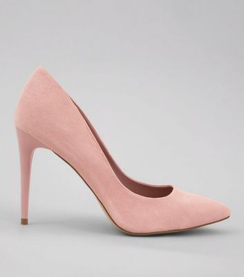Pink Suedette Pointed Court Shoes
