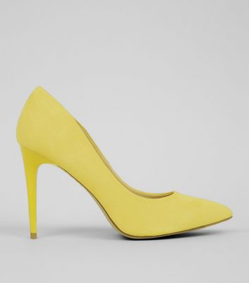 Yellow Suedette Pointed Court Shoes