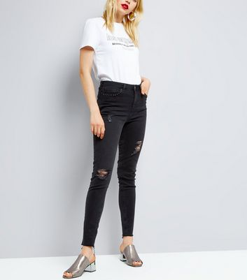 Tall Black Ripped Studded Skinny Jeans