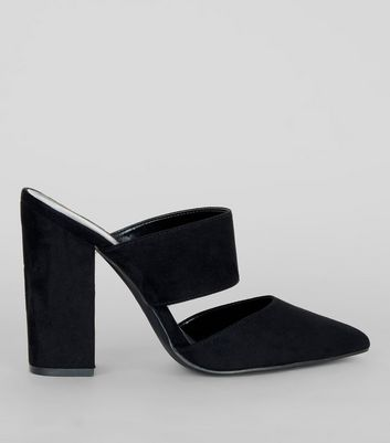 Black Suedette Double Strap Pointed Mules