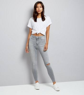 Tall Pale Grey Ripped High Waisted Hallie Jeans