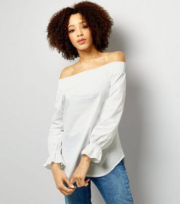 Loving This White Cuffed Bardot Neck Top