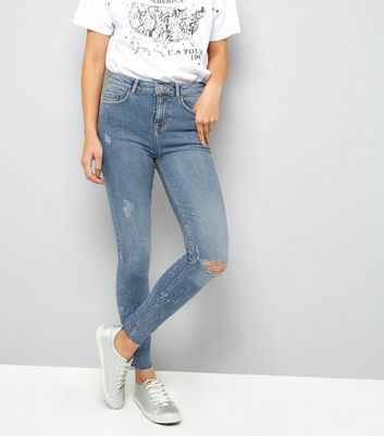Tall Blue Metallic Print Skinny Jeans