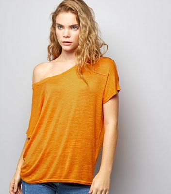 Orange Off the Shoulder T-Shirt